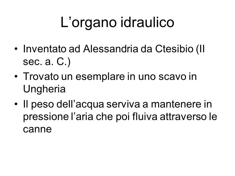L'organo idraulico Inventato ad Alessandria da Ctesibio (II sec. a. C.) Trovato un esemplare in uno scavo in Ungheria.