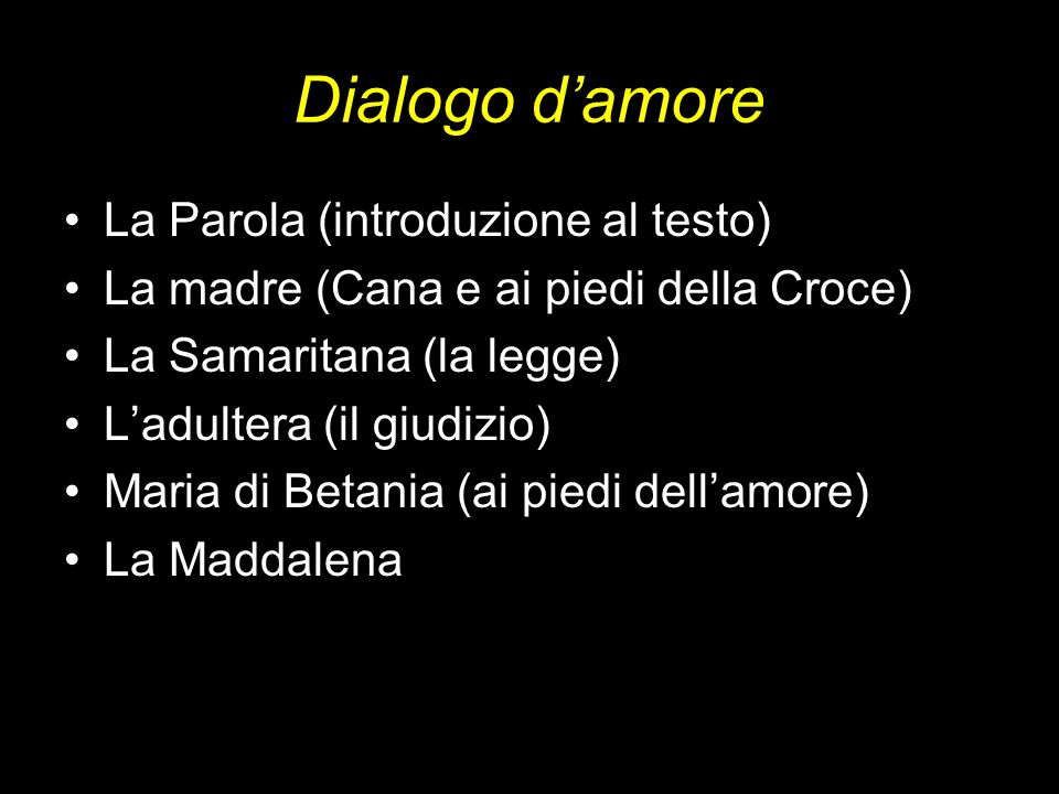 Dialogo d'amore La Parola (introduzione al testo)