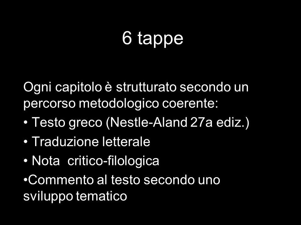 6 tappe Ogni capitolo è strutturato secondo un percorso metodologico coerente: Testo greco (Nestle-Aland 27a ediz.)