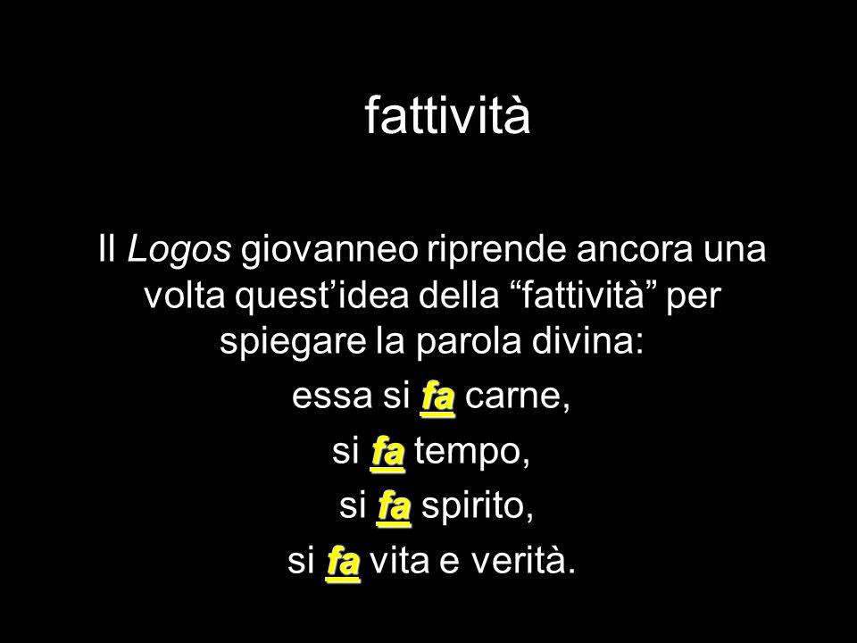 fattività Il Logos giovanneo riprende ancora una volta quest'idea della fattività per spiegare la parola divina: