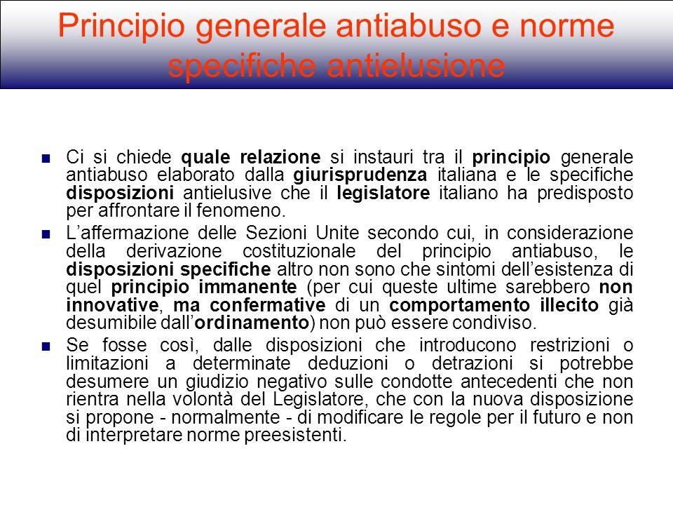 Principio generale antiabuso e norme specifiche antielusione
