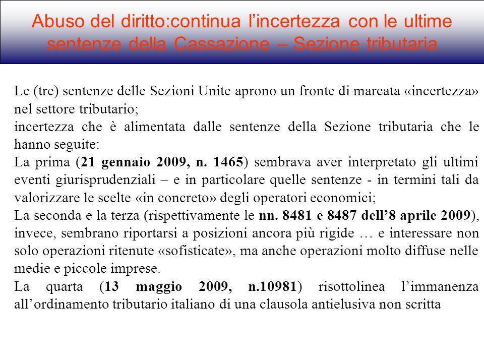 Abuso del diritto:continua l'incertezza con le ultime sentenze della Cassazione – Sezione tributaria