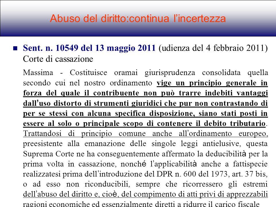 Abuso del diritto:continua l'incertezza