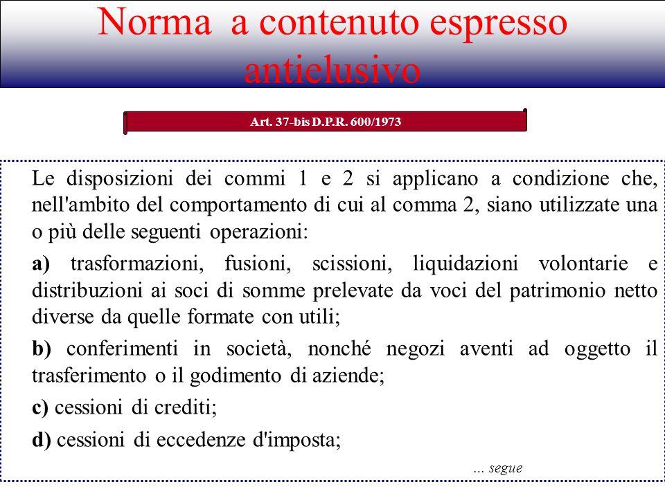 Norma a contenuto espresso antielusivo