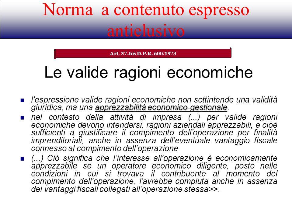 Le valide ragioni economiche
