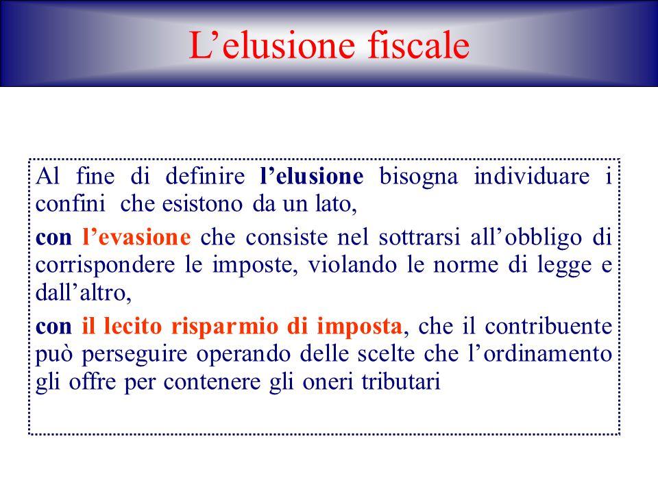 L'elusione fiscaleAl fine di definire l'elusione bisogna individuare i confini che esistono da un lato,