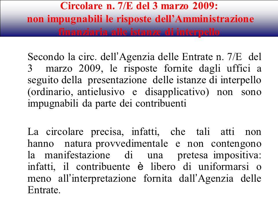 Circolare n. 7/E del 3 marzo 2009: