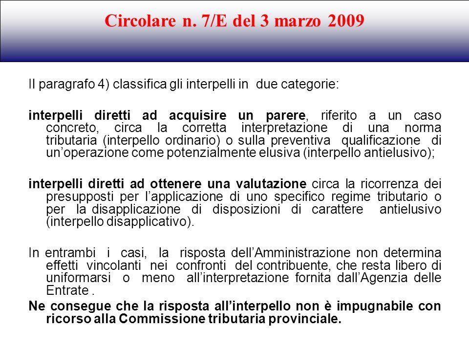 Circolare n. 7/E del 3 marzo 2009