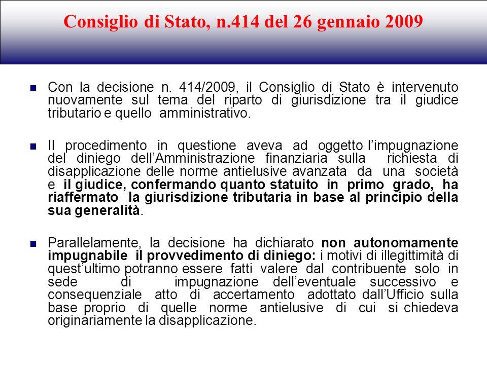 Consiglio di Stato, n.414 del 26 gennaio 2009