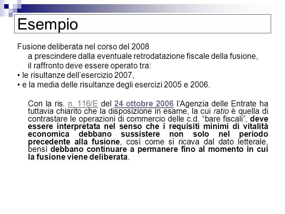 Esempio Fusione deliberata nel corso del 2008