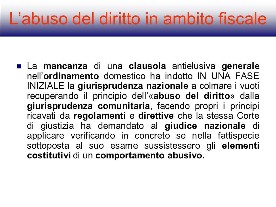 L'abuso del diritto in ambito fiscale