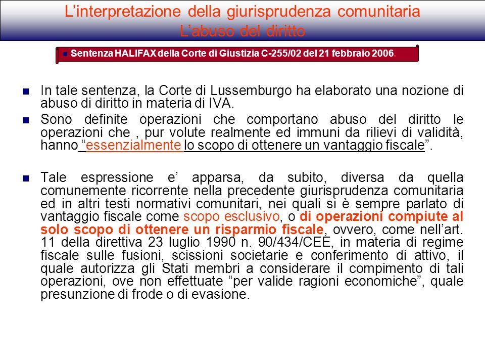 L'interpretazione della giurisprudenza comunitaria