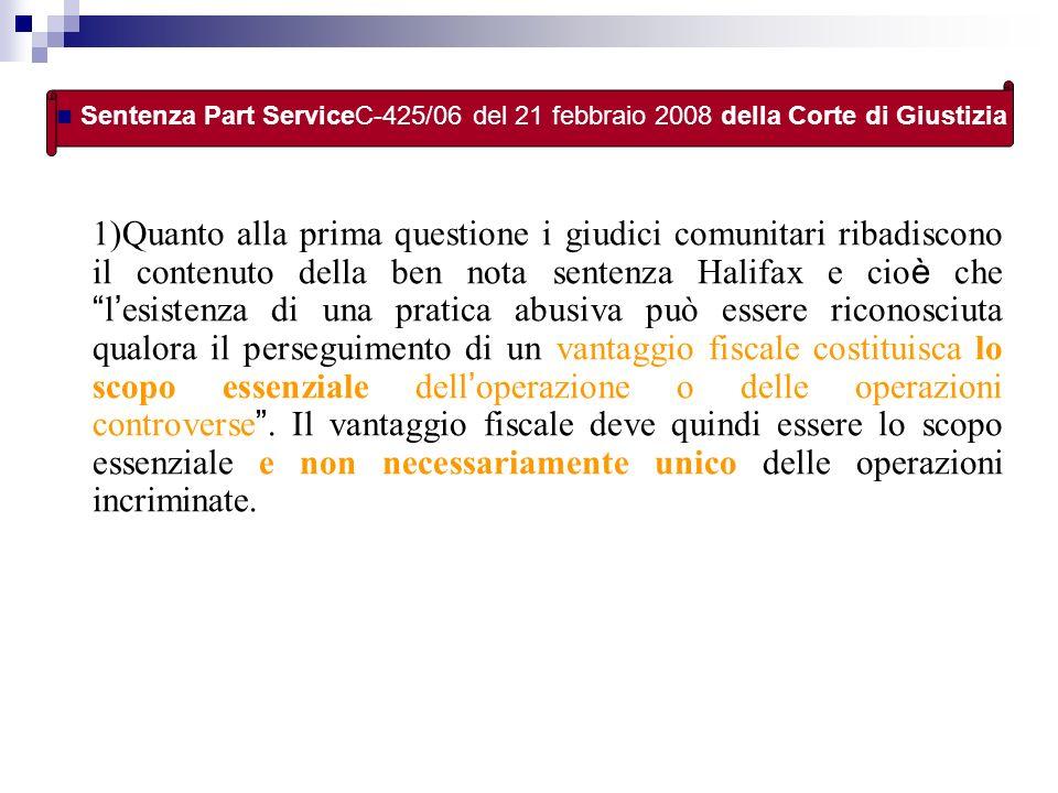 Sentenza Part ServiceC-425/06 del 21 febbraio 2008 della Corte di Giustizia