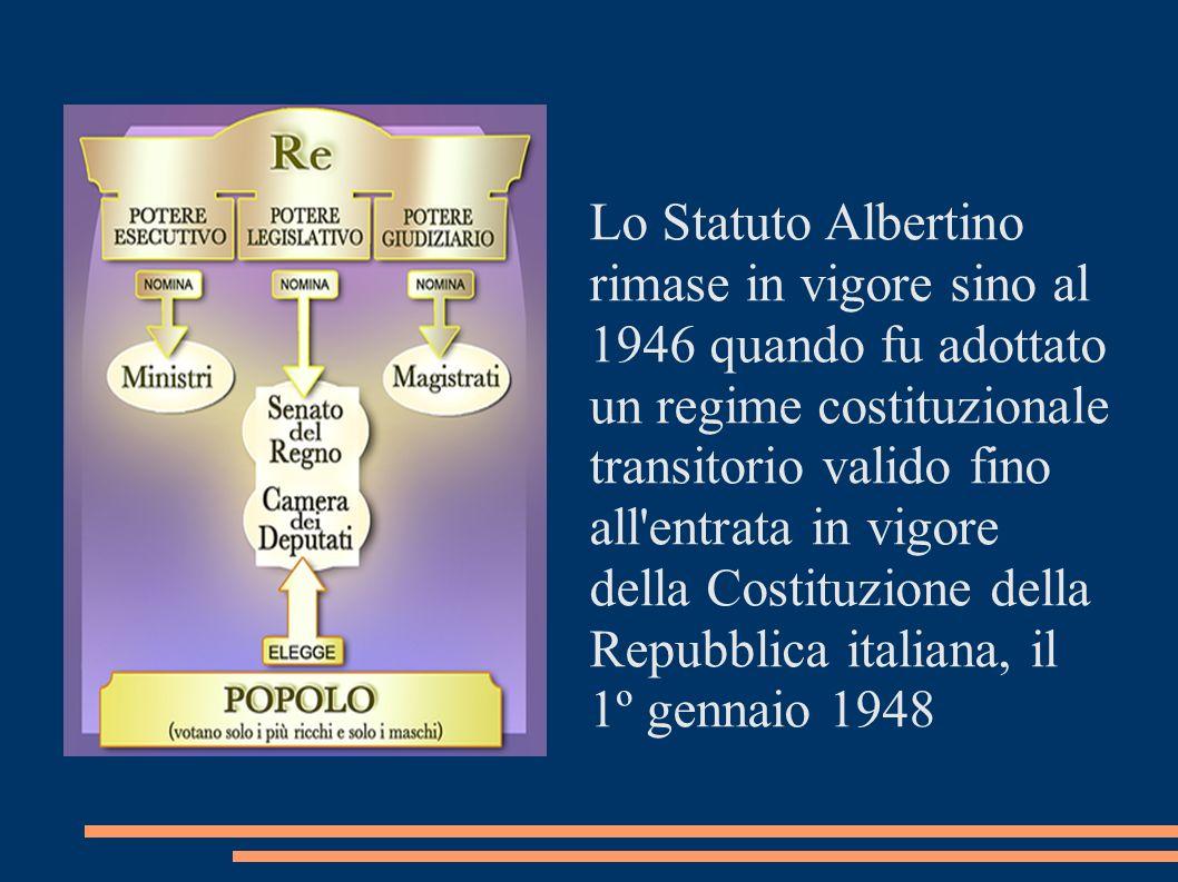 Lo Statuto Albertino rimase in vigore sino al 1946 quando fu adottato un regime costituzionale transitorio valido fino all entrata in vigore della Costituzione della Repubblica italiana, il 1º gennaio 1948