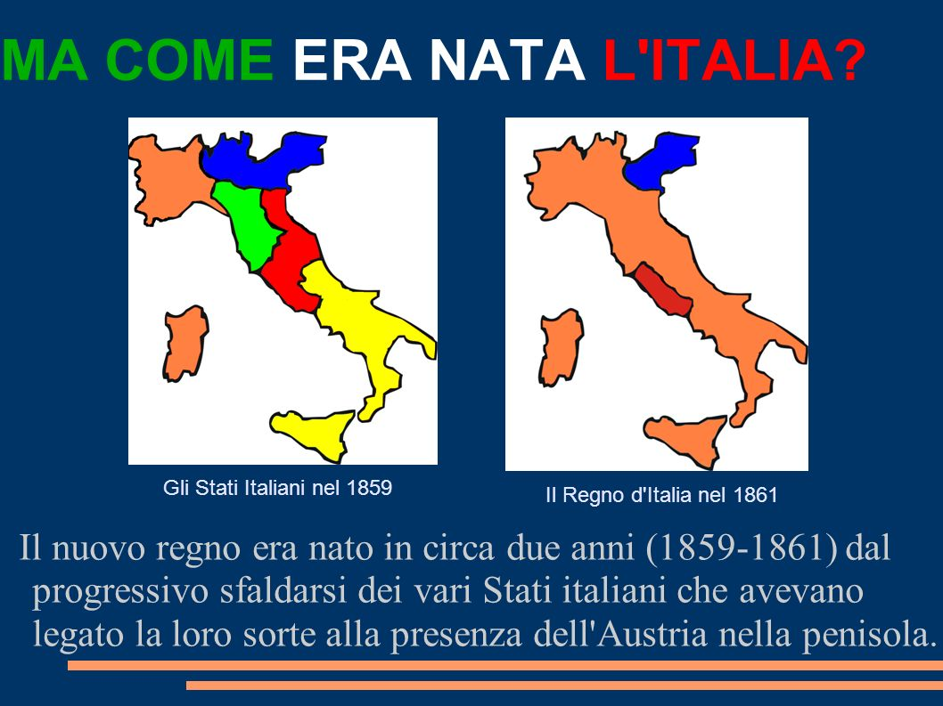 MA COME ERA NATA L ITALIA