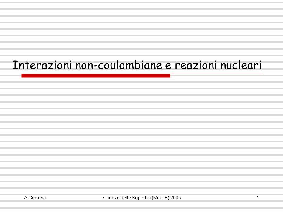 Interazioni non-coulombiane e reazioni nucleari
