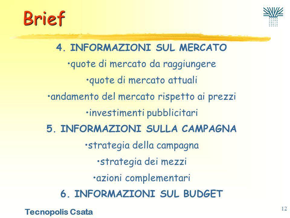 Brief 4. INFORMAZIONI SUL MERCATO quote di mercato da raggiungere