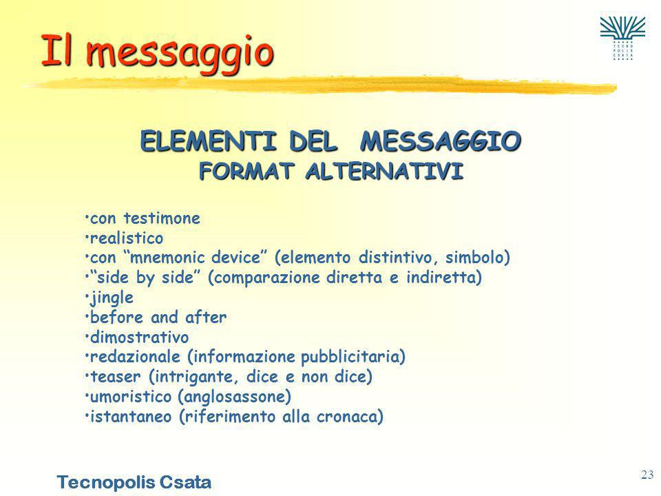 ELEMENTI DEL MESSAGGIO FORMAT ALTERNATIVI