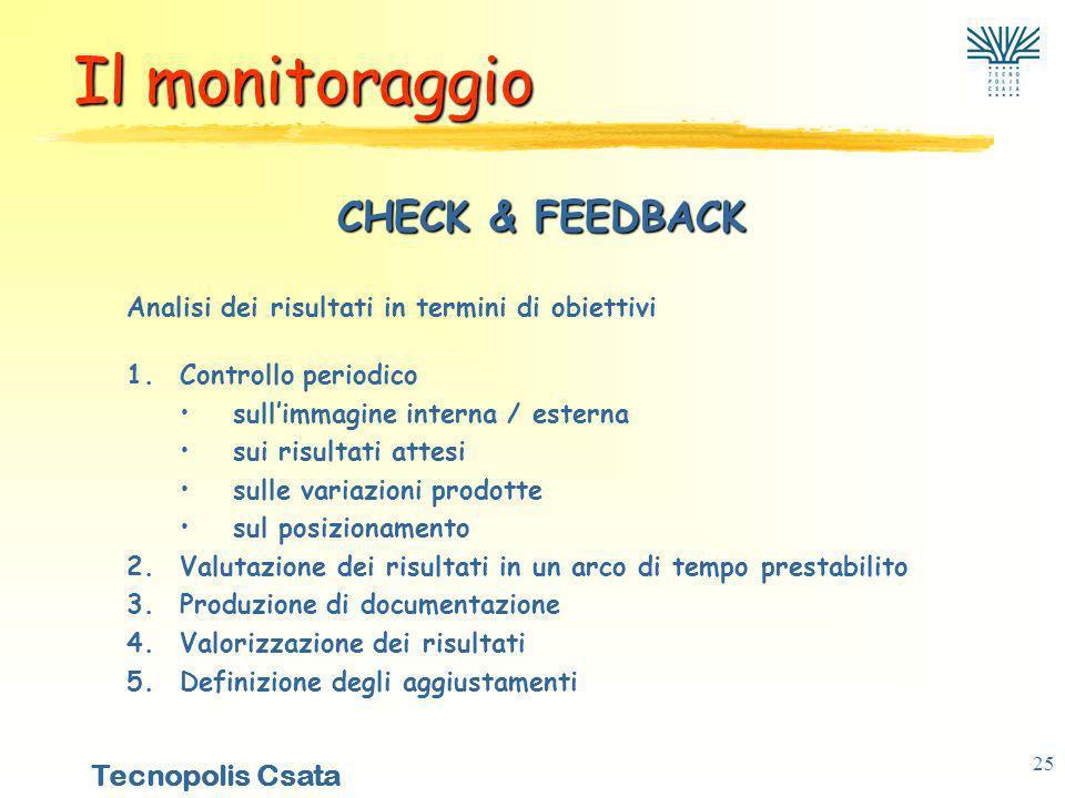 Il monitoraggio CHECK & FEEDBACK