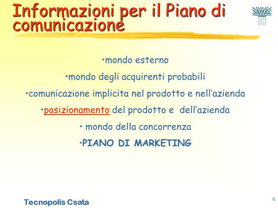 Informazioni per il Piano di comunicazione