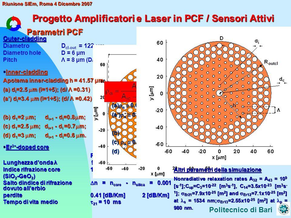 Progetto Amplificatori e Laser in PCF / Sensori Attivi