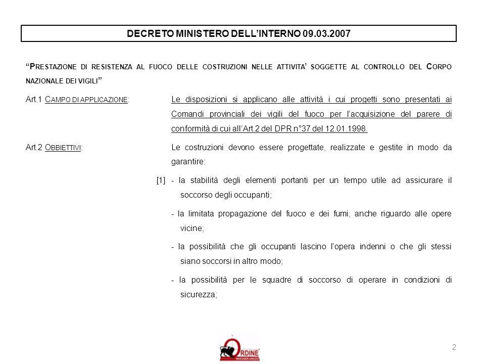 DECRETO MINISTERO DELL'INTERNO 09.03.2007