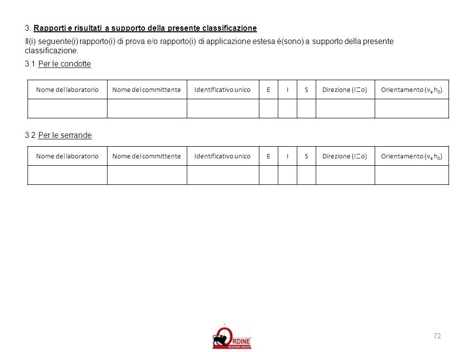 3. Rapporti e risultati a supporto della presente classificazione