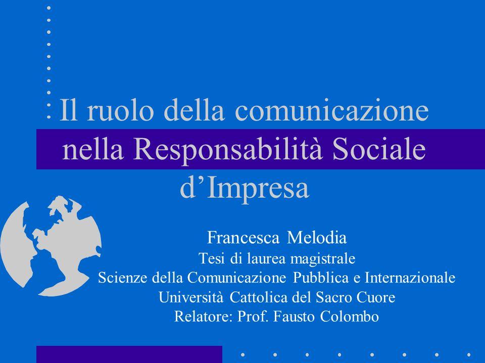 Il ruolo della comunicazione nella Responsabilità Sociale d'Impresa