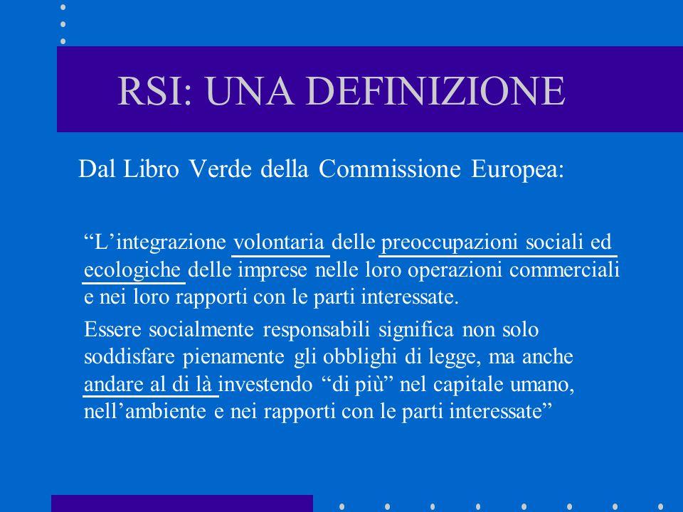 RSI: UNA DEFINIZIONE Dal Libro Verde della Commissione Europea: