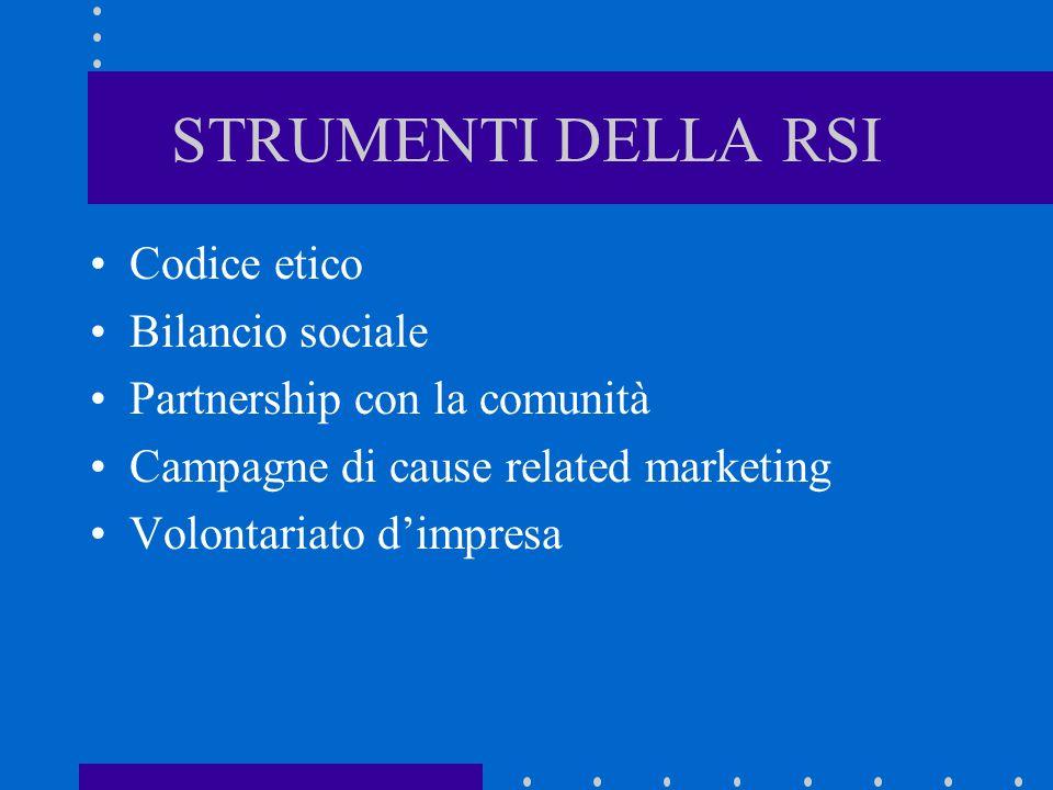 STRUMENTI DELLA RSI Codice etico Bilancio sociale