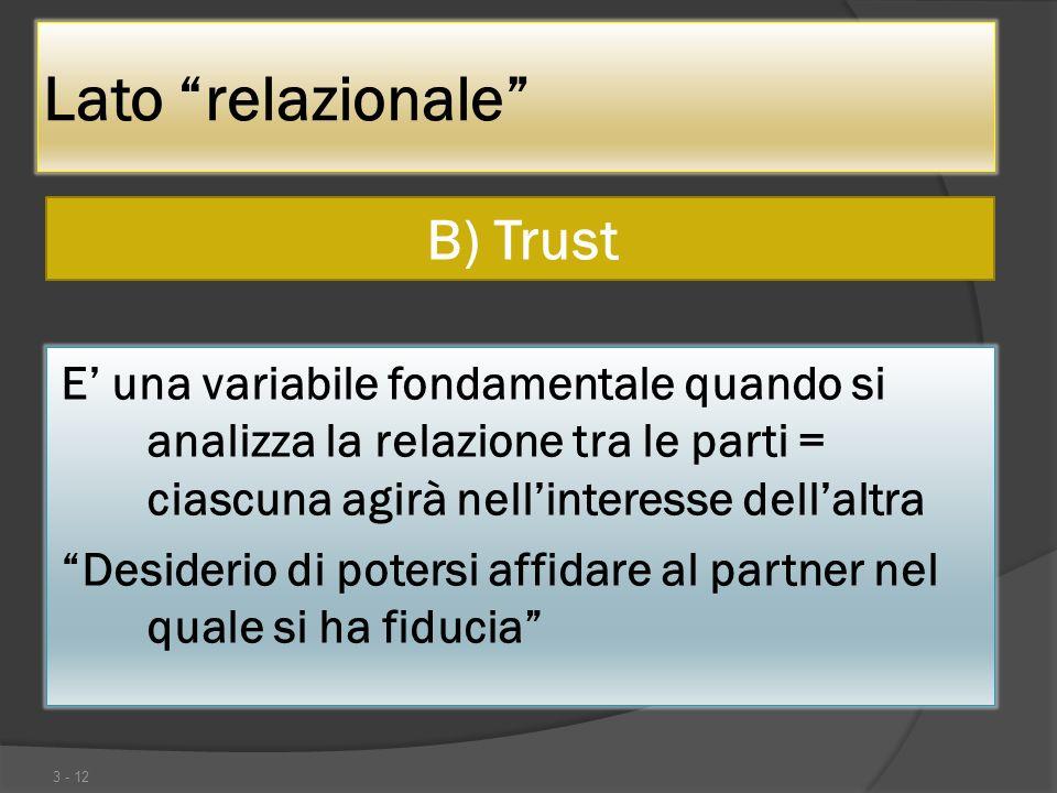 Lato relazionale B) Trust