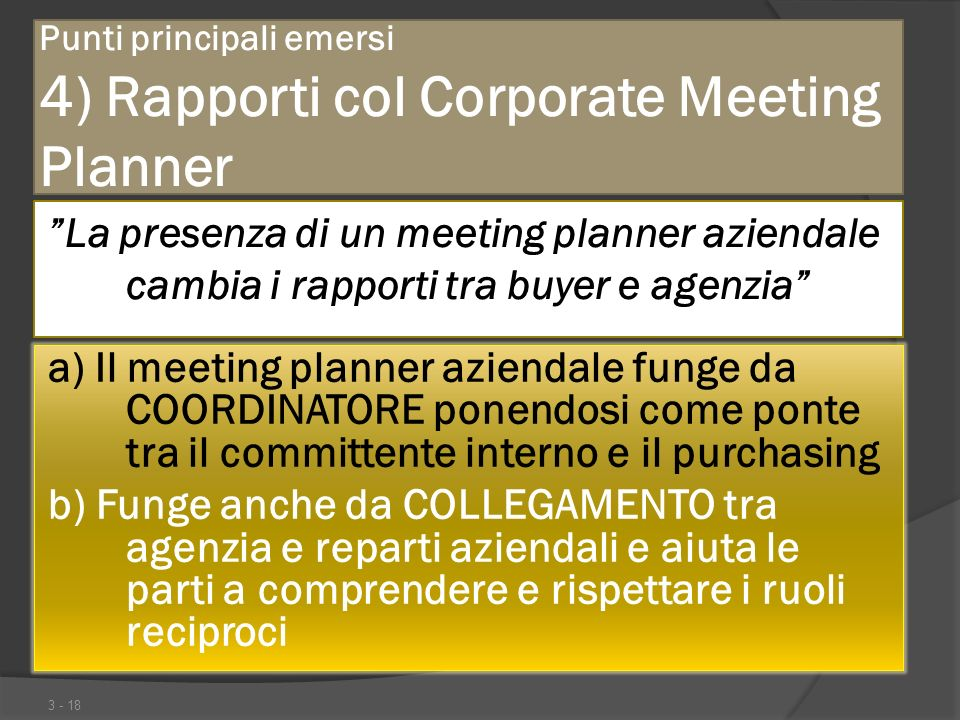 Punti principali emersi 4) Rapporti col Corporate Meeting Planner