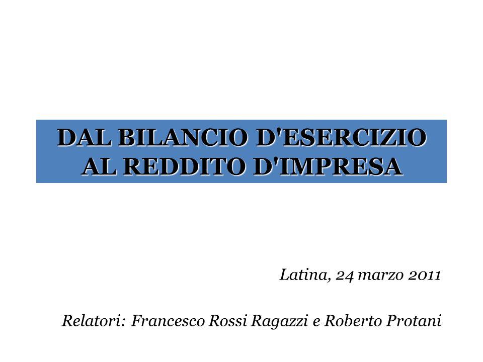 DAL BILANCIO D ESERCIZIO AL REDDITO D IMPRESA