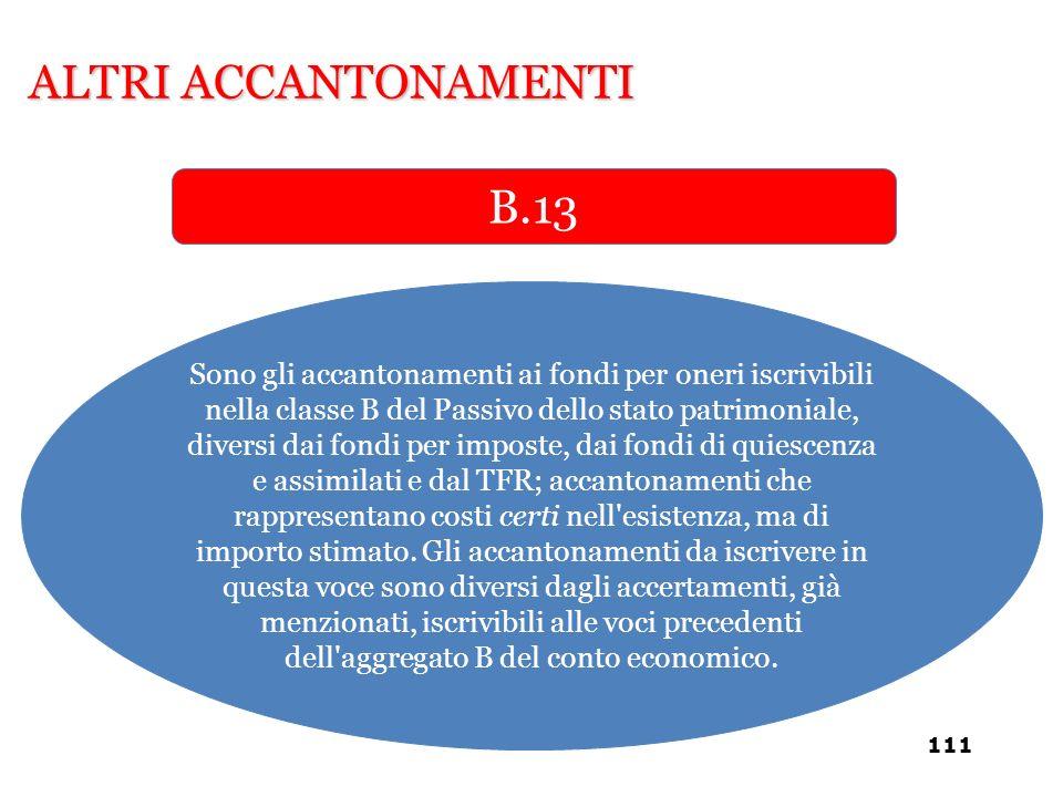 ALTRI ACCANTONAMENTI B.13