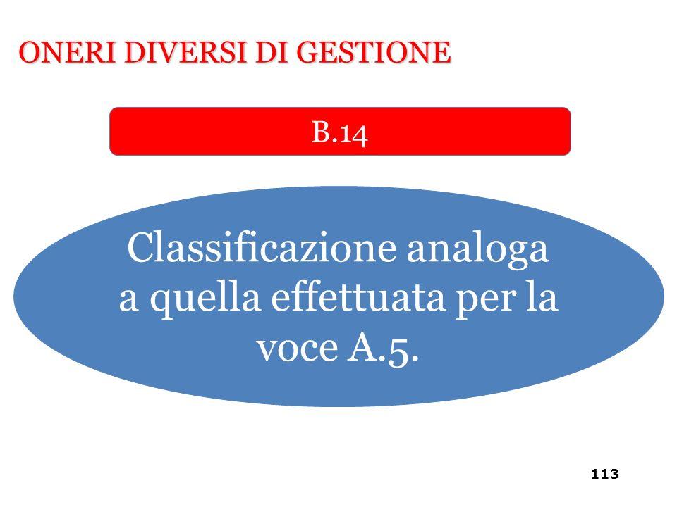 Classificazione analoga a quella effettuata per la voce A.5.
