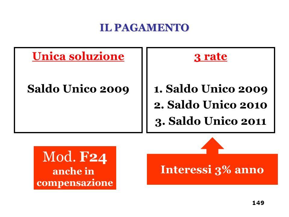 Mod. F24 Unica soluzione Saldo Unico 2009 3 rate 1. Saldo Unico 2009