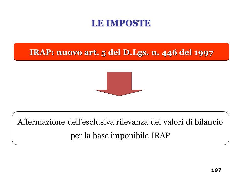 IRAP: nuovo art. 5 del D.Lgs. n. 446 del 1997