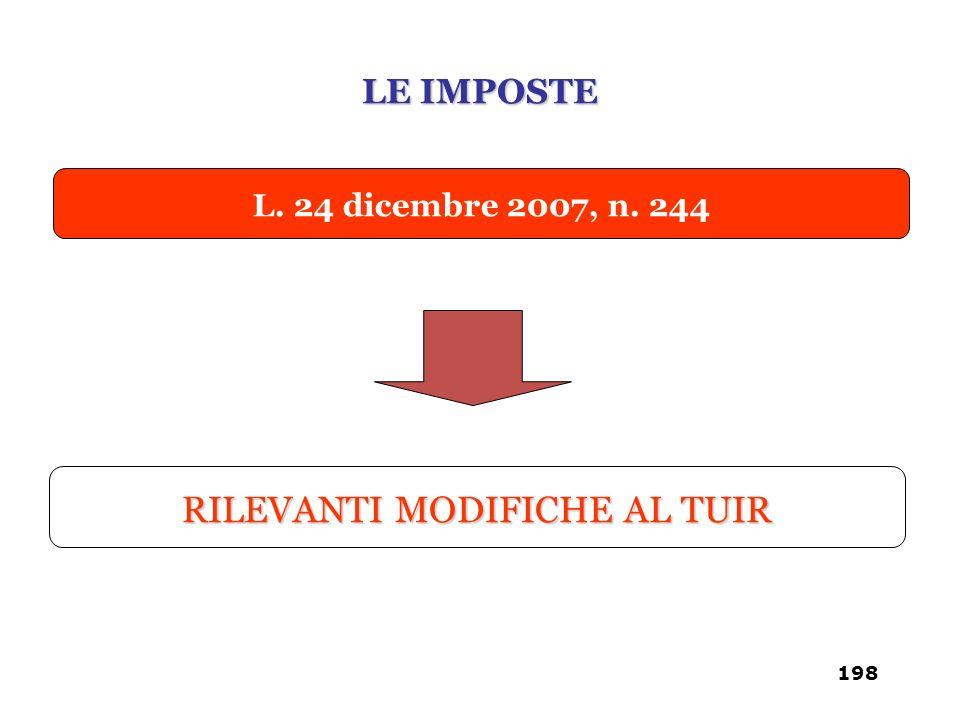 RILEVANTI MODIFICHE AL TUIR