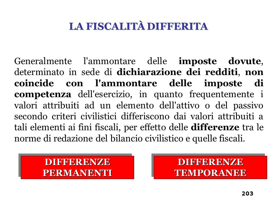 LA FISCALITÀ DIFFERITA DIFFERENZE PERMANENTI DIFFERENZE TEMPORANEE