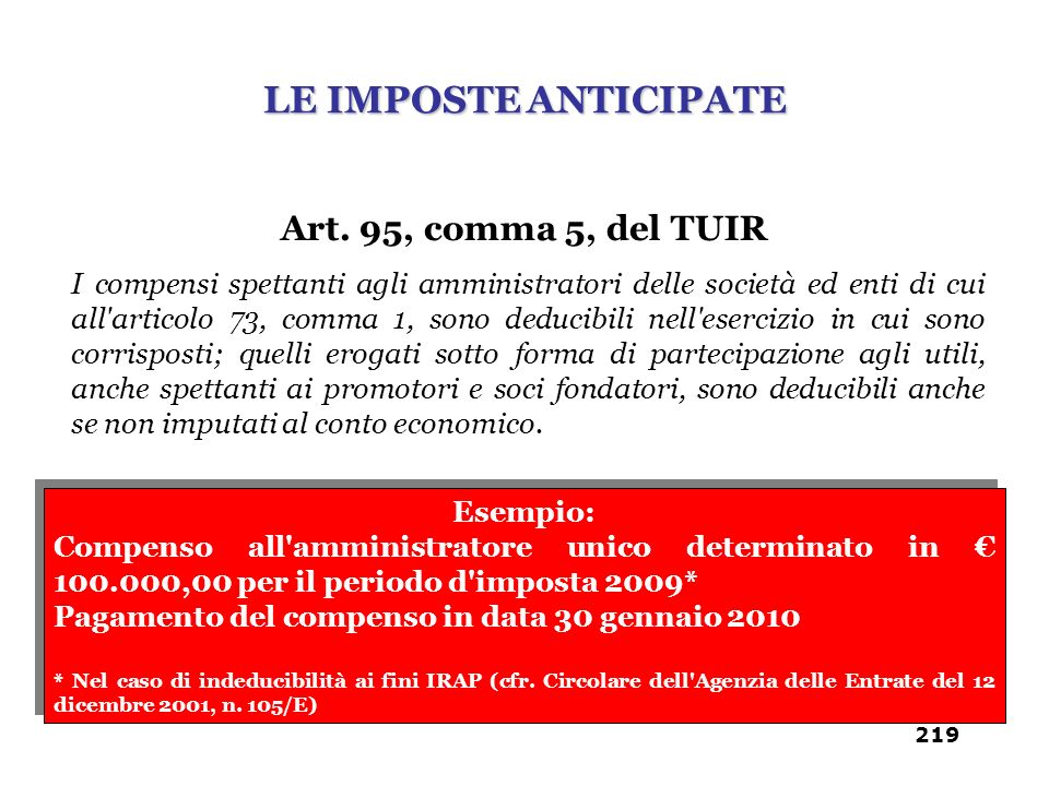 LE IMPOSTE ANTICIPATE Art. 95, comma 5, del TUIR