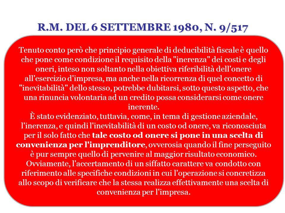 R.M. DEL 6 SETTEMBRE 1980, N. 9/517