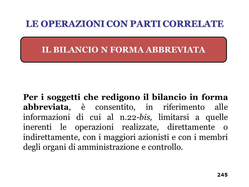 LE OPERAZIONI CON PARTI CORRELATE IL BILANCIO N FORMA ABBREVIATA
