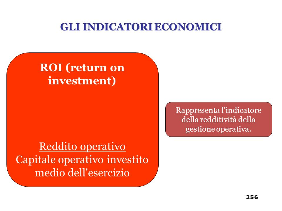 GLI INDICATORI ECONOMICI ROI (return on investment)