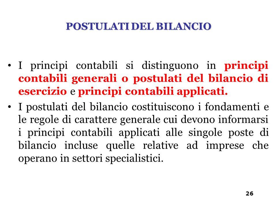 POSTULATI DEL BILANCIO