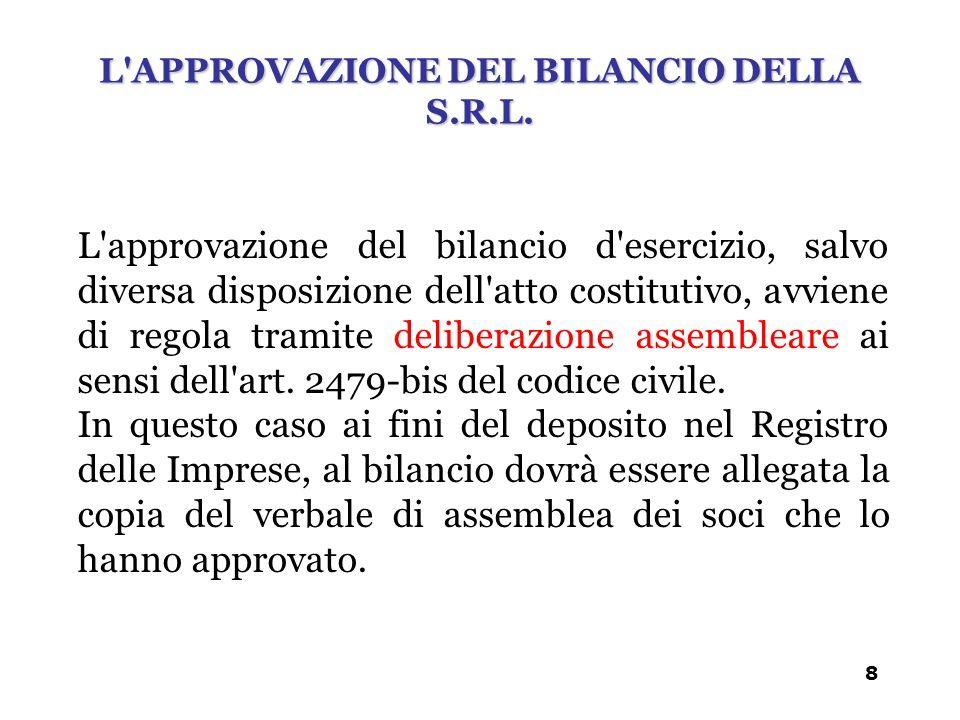 L Approvazione del bilancio della s.r.l.
