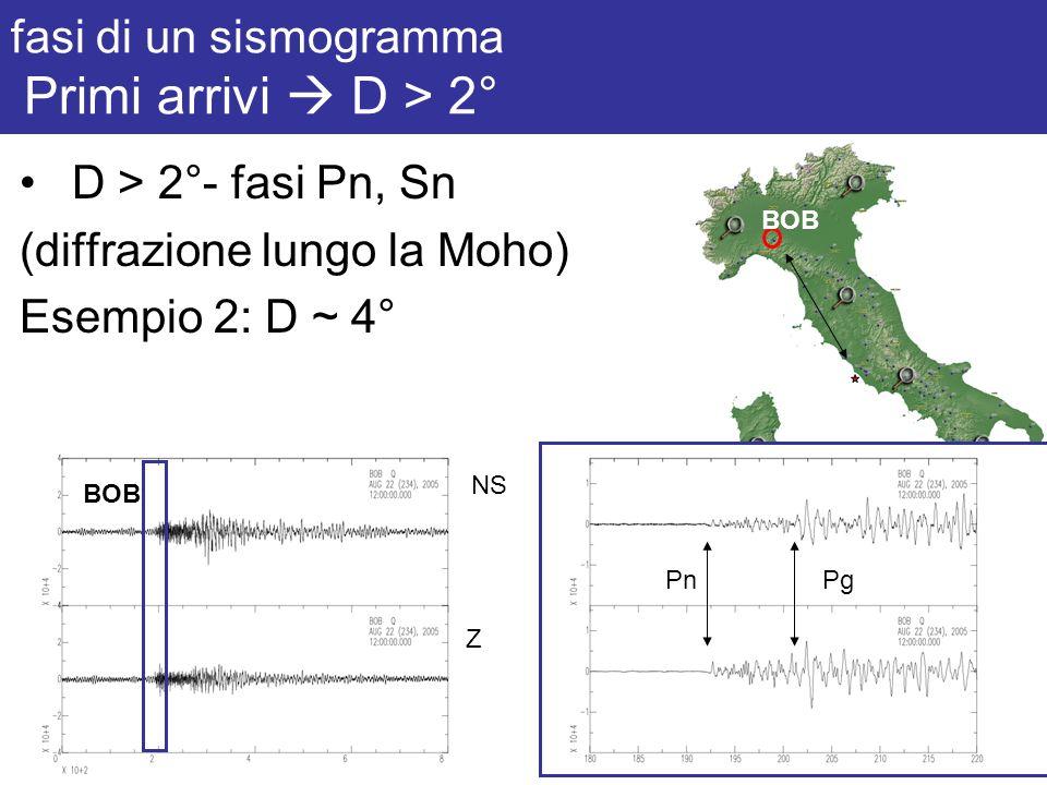 fasi di un sismogramma Primi arrivi  D > 2°
