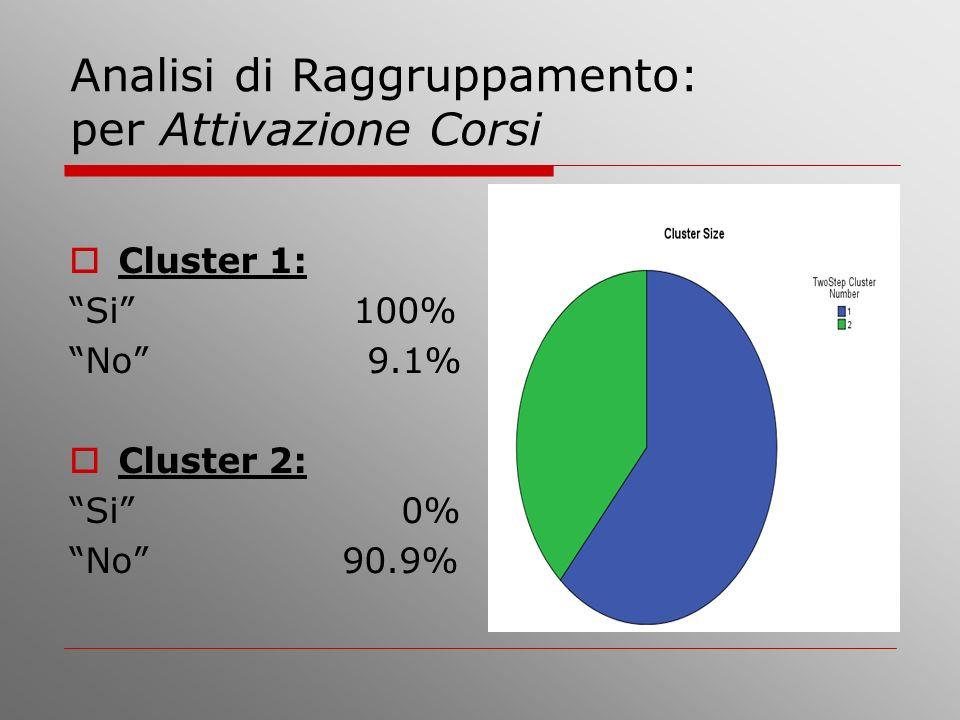 Analisi di Raggruppamento: per Attivazione Corsi