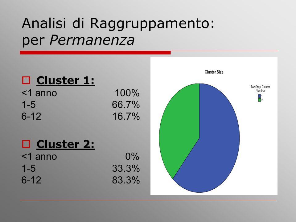 Analisi di Raggruppamento: per Permanenza