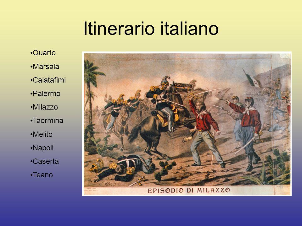 Itinerario italiano Quarto Marsala Calatafimi Palermo Milazzo Taormina