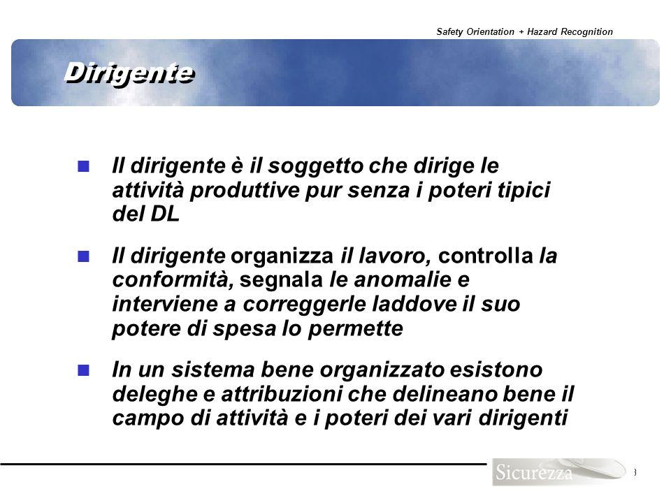 Dirigente Il dirigente è il soggetto che dirige le attività produttive pur senza i poteri tipici del DL.